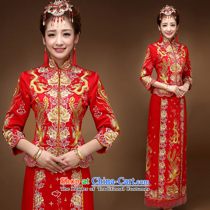 The privilege of serving-leung of autumn and winter bride with a drink service wedding dress Sau Wo service use the Dragon Chinese cheongsam dress use the wedding dress Red 2XL