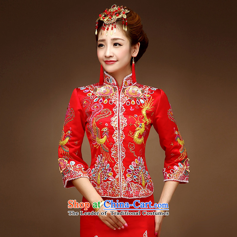 The privilege of serving-leung 2015 new bride of autumn and winter load longfeng use skirt wedding dress qipao bows to Sau Wo Service RED M