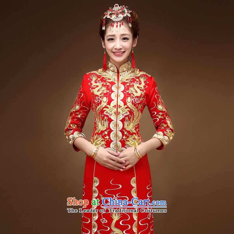 The autumn and winter load retro-soo Wo Service bridal dresses bows service wedding dress longfeng use skirt use Chinese wedding dress RED M