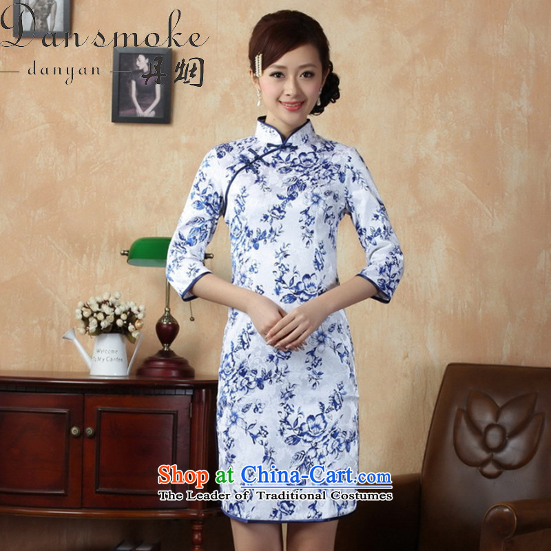 Dan Chu leads for the new Tobacco Qipao) Tang Dynasty Chinese improvement collar is pressed to cotton porcelain, cuff figure qipao L