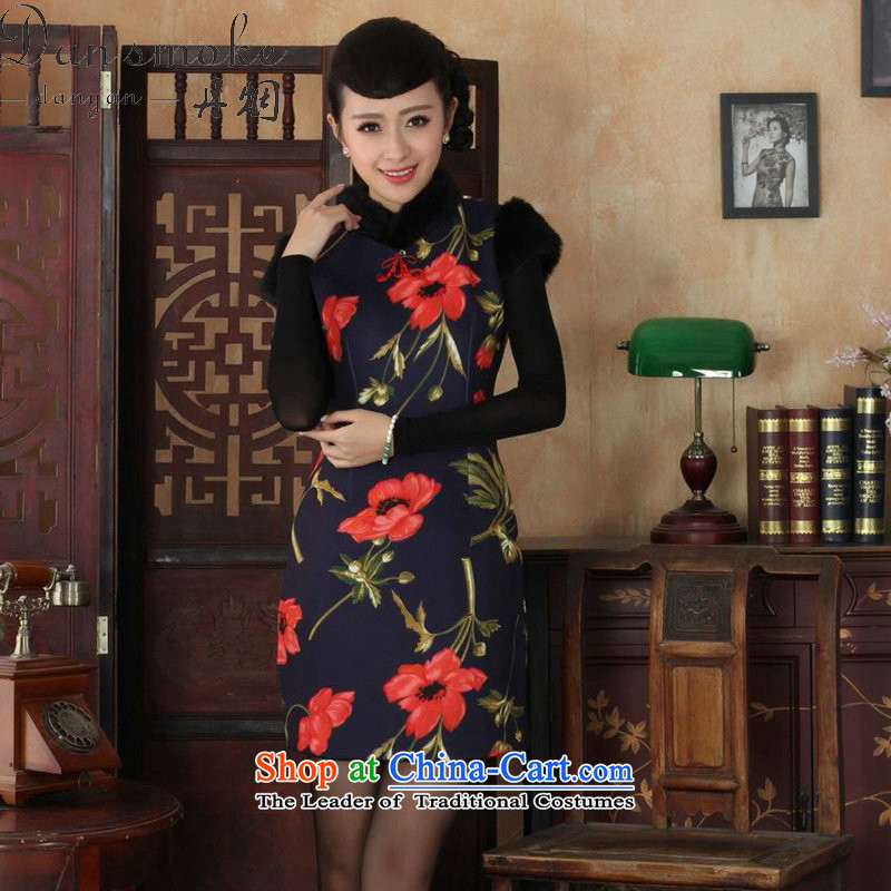 Dan smoke qipao winter clothing new women's Mock-neck Tang Dynasty Chinese improved retro hair for warm stretch COTTON SHORT qipao figure?L