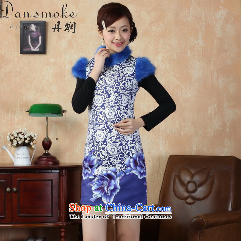 Dan smoke cheongsam dress Tang dynasty new collar Chinese improved gross cotton short qipao? retro dress will figure聽2XL