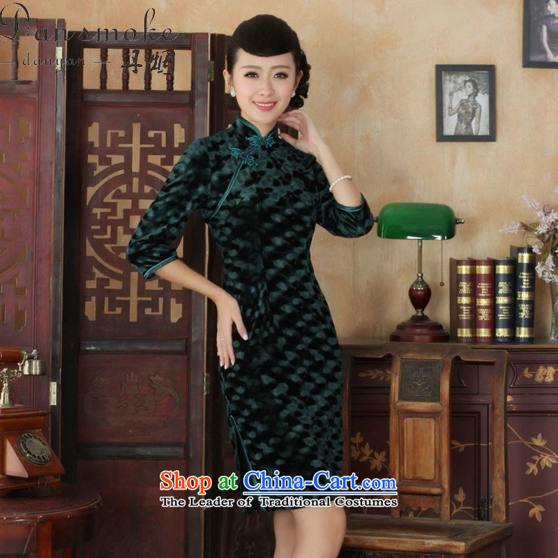 Dan smoke fall short-Women's clothes qipao new collar Chinese improved his wife Kim noble scouring pads Sau San qipao skirt�-B green�L