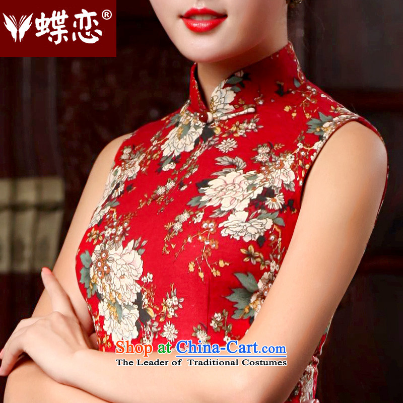 The Butterfly Lovers 2015 Summer new cotton linen dresses and Stylish retro everyday dress qipao improved cheongsam dress 46024 Red?XXL