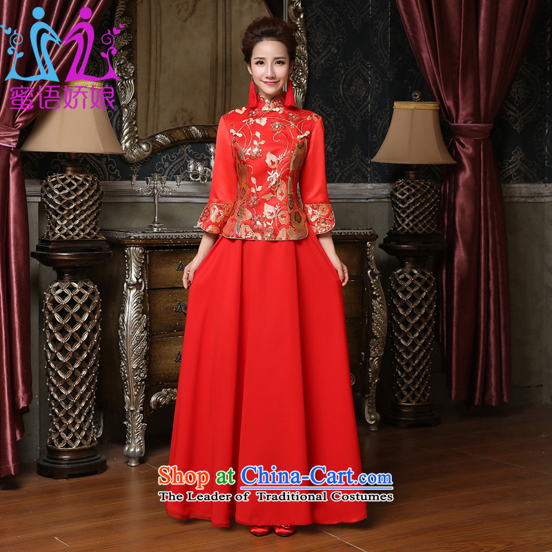 Talk to her new bride dresses 2015 Red Winter marriage Chinese dress in long large long-sleeved clothing red XXL toasting champagne Cheongsam
