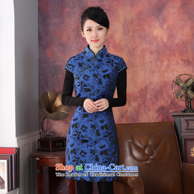 Oriental aristocratic 2015 Fall_Winter Collections elegant embroidery cheongsam dress daily improved cotton short of female folder cheongsam dress?344609 Blue?S
