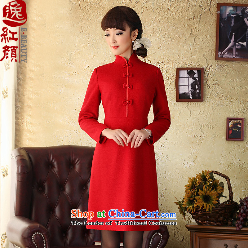 A Pinwheel Without Wind-jae-Yong-il woolen? dresses autumn and winter new Chinese skirts long-sleeved   retro Grenadine Red燲L