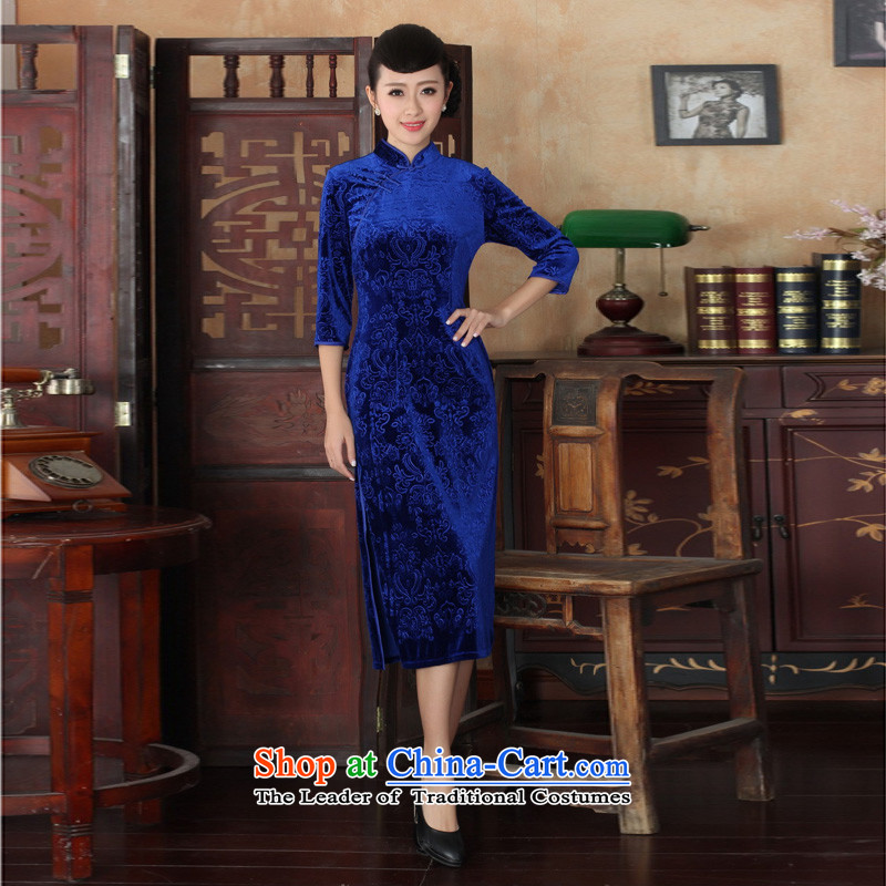 Mrs Ingrid Yeung economy Overgrown Tomb new products Chinese improved cheongsam dress long skirt superior Stretch Wool 7 Cuff Kim qipao� TD00039爁igure燲L