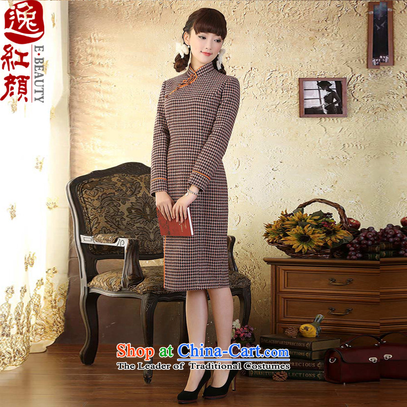 A Pinwheel Without Wind Yat Warmer? chidori of gross l qipao improved autumn and winter.) cheongsam dress retro latticed�M