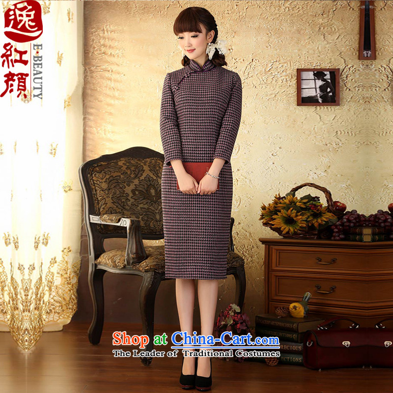 A Pinwheel Without Wind Yat Warmer? chidori of gross long-sleeved qipao improved retro new autumn and winter temperament cheongsam dress long latticed?M