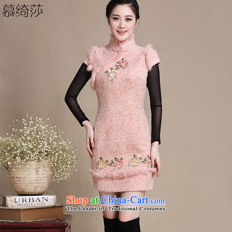 The cheer her embroidery new winter clothing retro style woolen? for improved qipao gross Sau San temperament cheongsam dress燳3196D燽are pink燲L