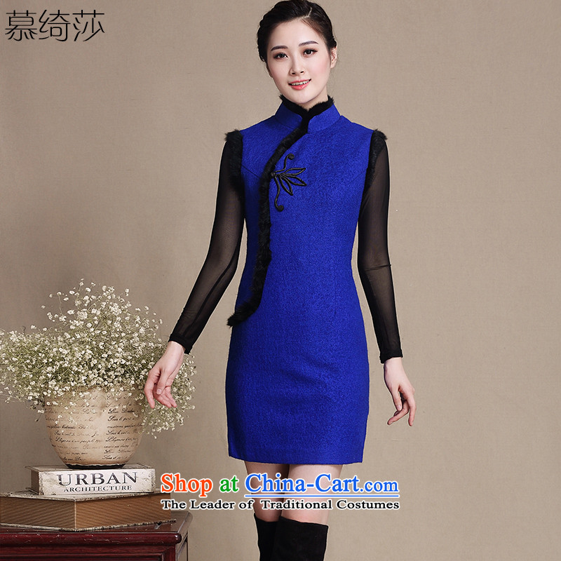 The cheer her thoughts about the new wool Fall_Winter Collections and stylish high-end cheongsam dress collar short, improved gross daily cheongsam dress聽Y3198D聽dark blue聽2XL