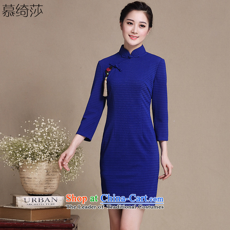 The cross-SA-point fall arrest�2015 retro improvement in the autumn of qipao cheongsam dress new cuff temperament improved cheongsam dress�Y3199D�Blue�M