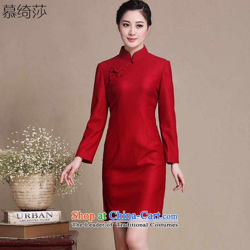 The cross-sa of Mr NGAN new gross qipao retro wool?? daily improved long-sleeved autumn and winter skirt? Y3220D qipao Ms.?Red?2XL