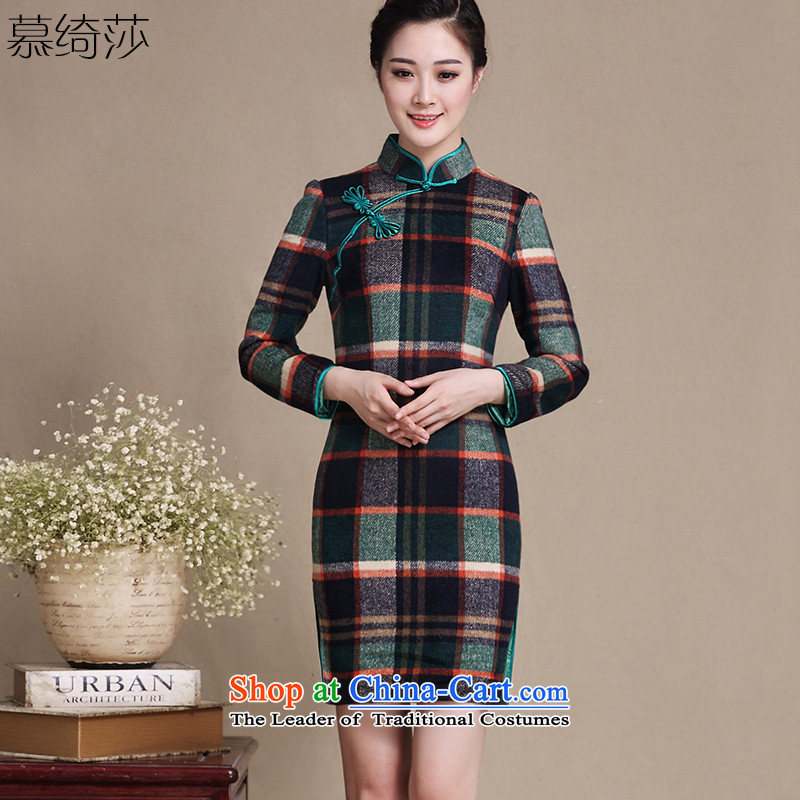 The concept of cross-sa latticed gross qipao?? in the autumn woolen long long-sleeved improved cheongsam dress qipao Ms. autumn and winter?Y3221D?LATTICES?L