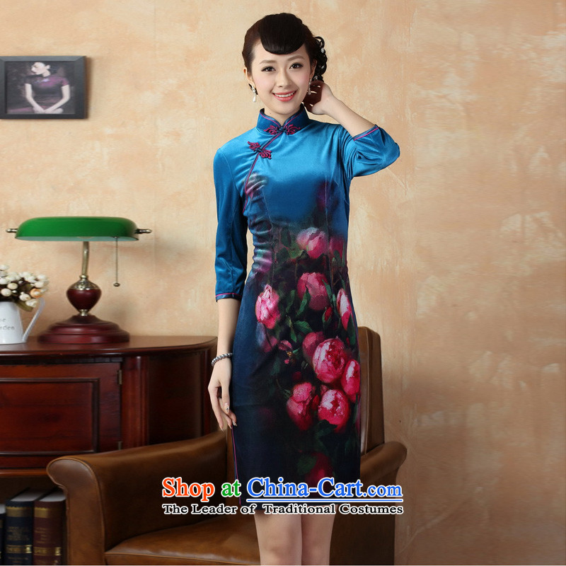 Mrs Ingrid Yeung as Overgrown Tomb  2014 new seven-sleeved improved handicraft embroidery Stretch Wool cheongsam dress Chinese Kim superior short skirts qipao figure XL