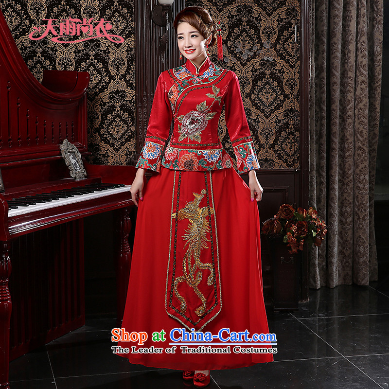 Rain-sang yi new bride wedding dress red retro improved Chinese style wedding wedding dresses kit long skirt QP565 embroidered red?M