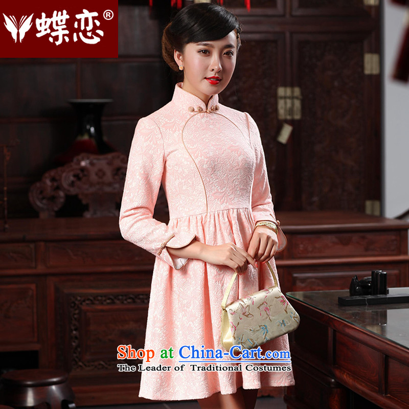 The Butterfly Lovers autumn 2015 new stylish improved bridesmaid skirt retro style qipao serving short of Qipao 48019 light pink?L