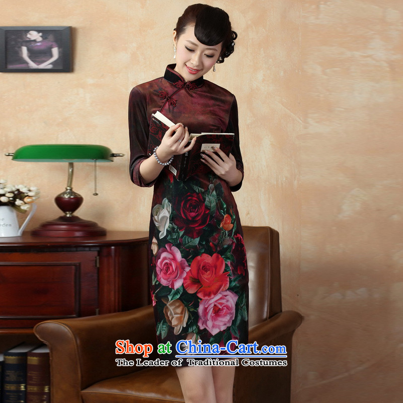 Mrs Ingrid Yeung economy?new autumn 2014 Overgrown Tomb of Tang Dynasty cheongsam dress collar Stretch Wool poster retro Kim Classic short-sleeved qipao improvement as figure?S