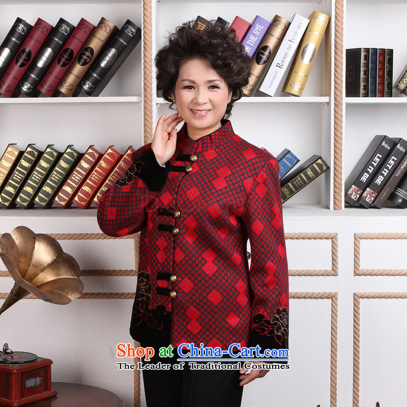 In the number of older women Joseph Pang Tang dynasty winter coats blouses Mock-neck Tang dynasty women wool? Tang Dynasty�- 1 black jacket red grille spend燤