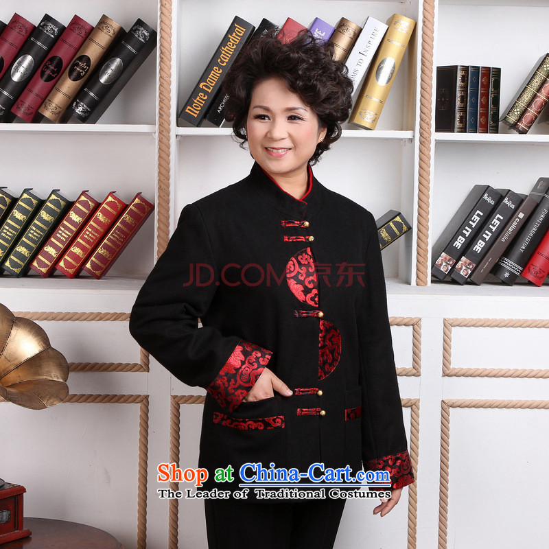 In the number of older women Joseph Pang Tang dynasty winter coats blouses Mock-neck Tang dynasty women wool coat Tang?- 2??3XL black