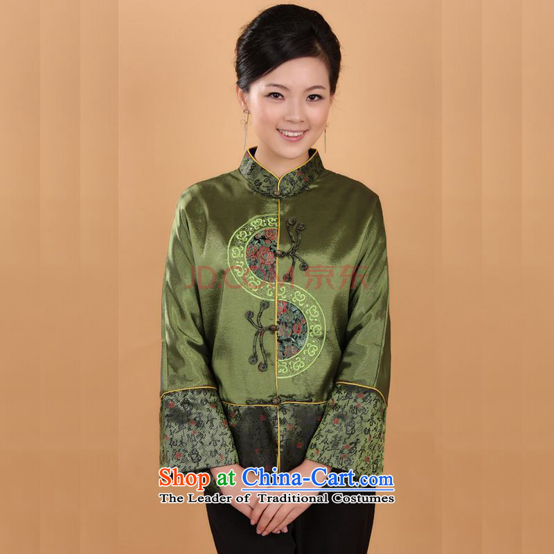Min Joseph Tang dynasty female autumn and winter coats blouses Mock-neck damask Tang blouses national dress�- 1 green�L