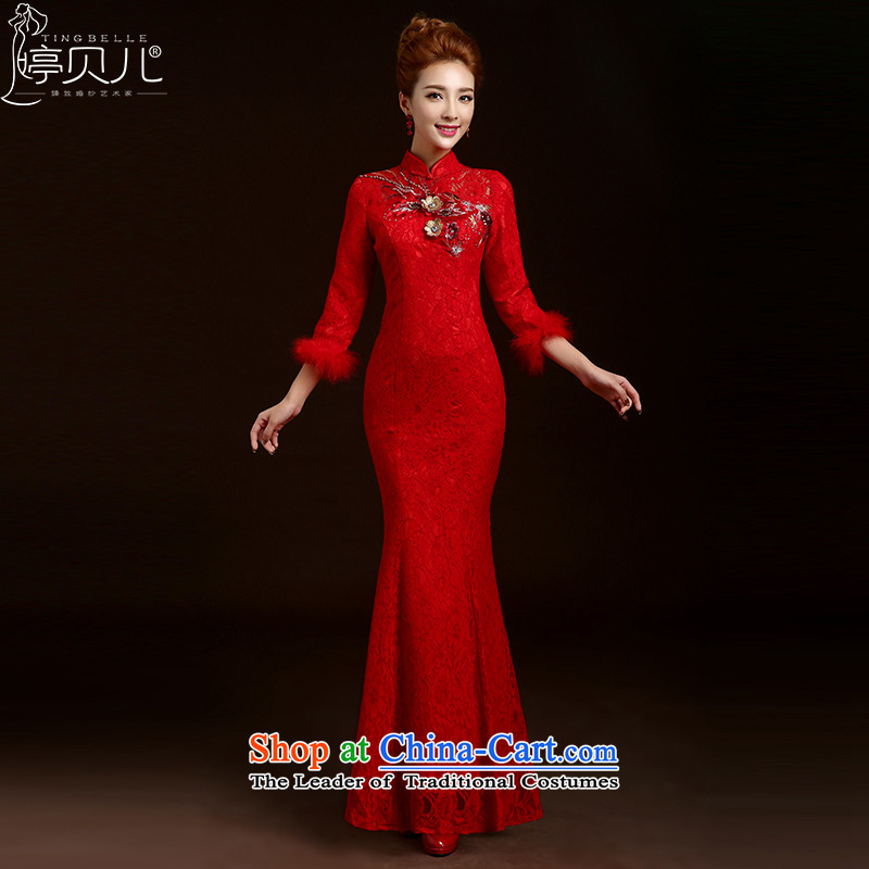 Beverly Ting 2015 new bride qipao bows to the marriage of autumn and winter with long-sleeved red Lace Embroidery Chinese Dress skirt red燬