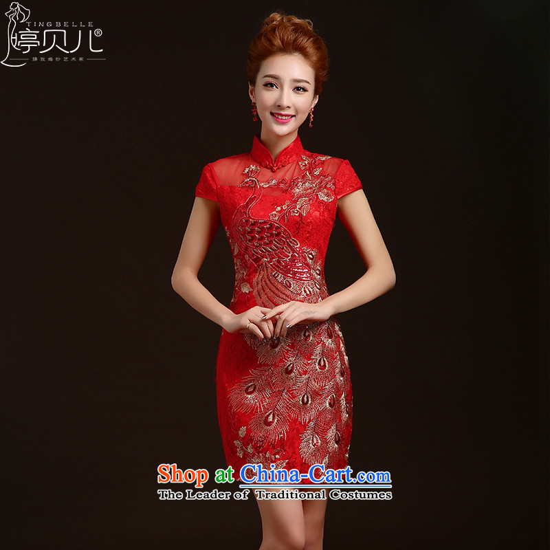 Beverly Ting bows Service Bridal Fashion 2015 Winter Wedding Dress Short of red retro embroidery cheongsam dress red dragon use?S