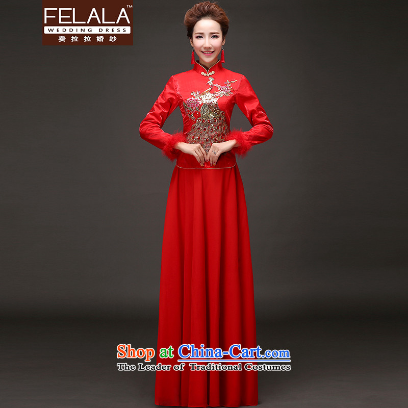 Ferrara?2015 winter new retro Chinese cheongsam dress on drilling thick pregnant women services?XL?Suzhou Shipment
