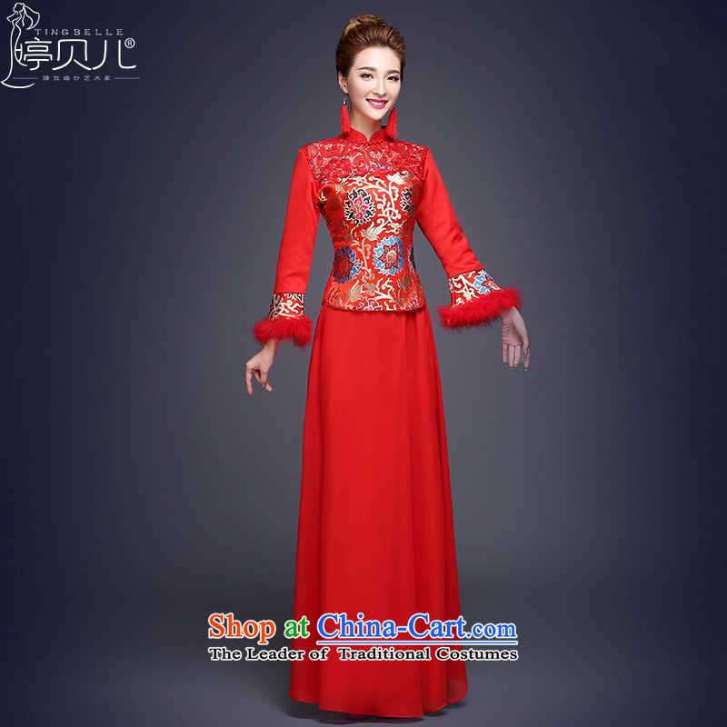 Beverly Ting bows Service Bridal Fashion 2015 new winter dress qipao red, marriage and Phoenix use su kimono red�XL