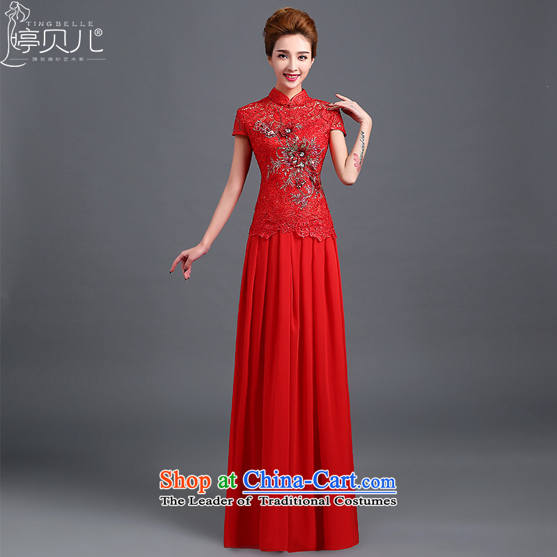 Beverly Ting bows services 2015 new bride in spring and summer wedding dress long lace cheongsam dress red Chinese red short-sleeved?S