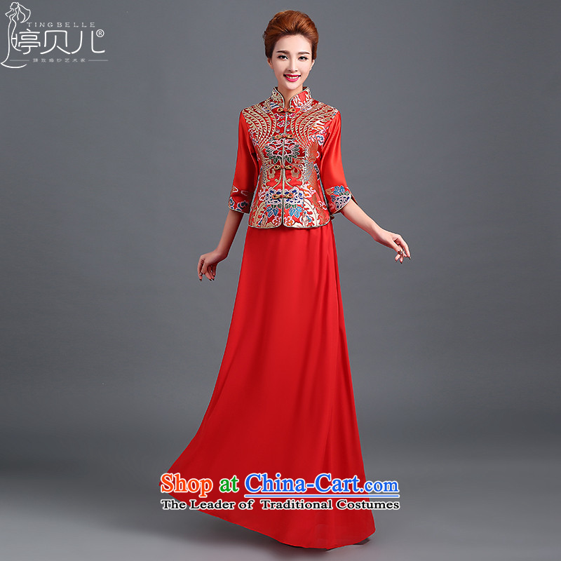 Beverly Ting qipao stylish Sau San improvements marriage 2015 new bride wedding dresses red long evening dress autumn and winter female red燣