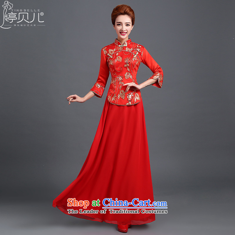 Beverly Ting bows services red stylish bride 2015 new marriage wedding dress female Chinese cheongsam dress red improved燲L