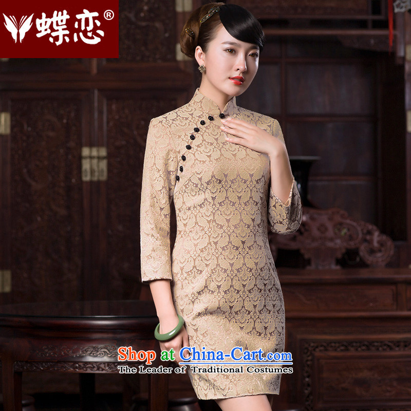 Butterfly Lovers 2015 Autumn new stylish improvement, Jacquard 7 cuff cheongsam dress?49070?White Bird tattoo?M