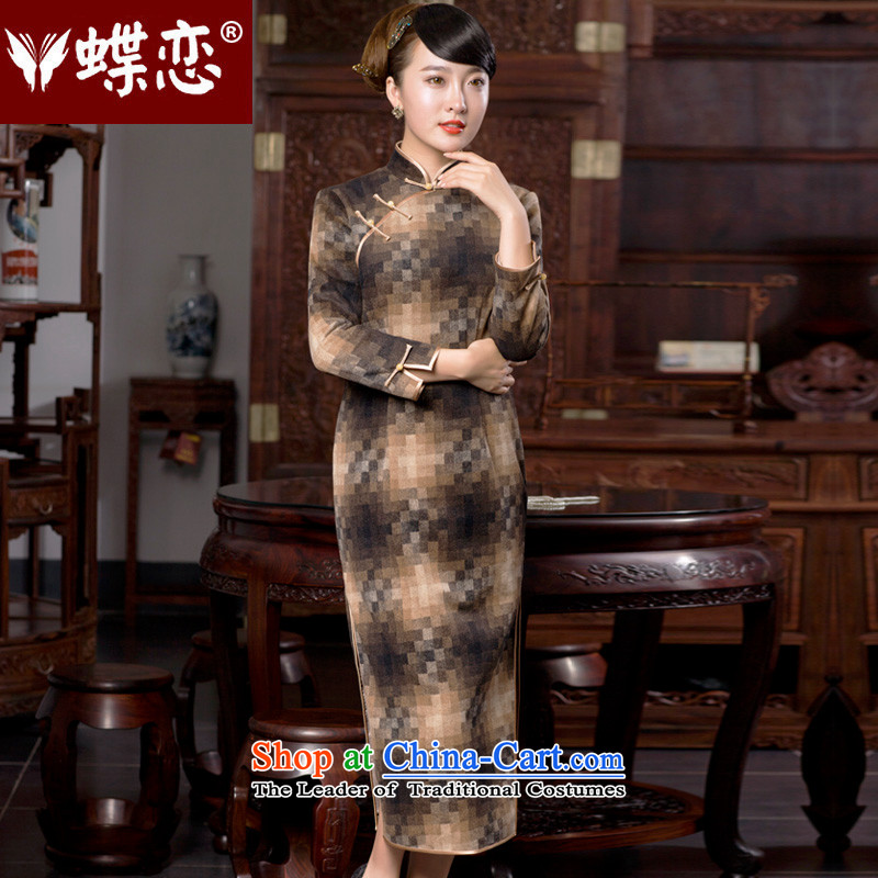 Butterfly Lovers 2015 Autumn new grid QIPAO_ retro dresses and stylish improved long hair? 49060 and color qipao autumn mosaic燬