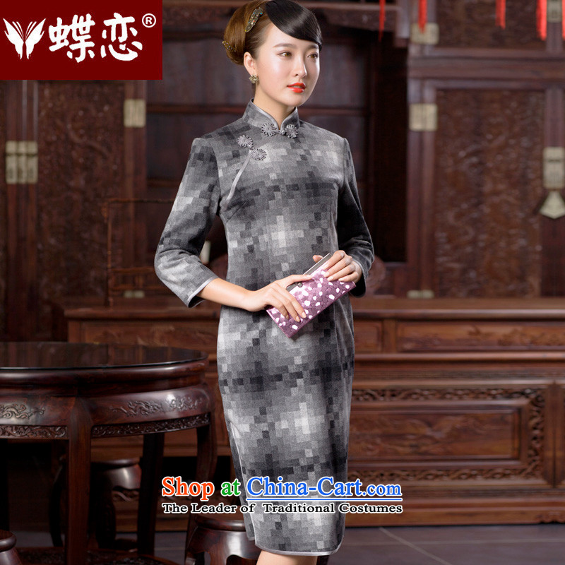 The Butterfly Lovers autumn 2015 new stylish improved latticed cheongsam dress retro elegant qipao long hair? 49054 gray mosaic?M