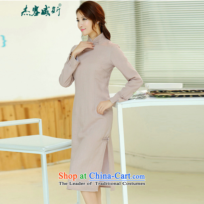 Jie in the spring and summer of female new cheongsam dress retro long cotton linen collar manually upgrading of solid color tie cheongsam dress light purple燲XL