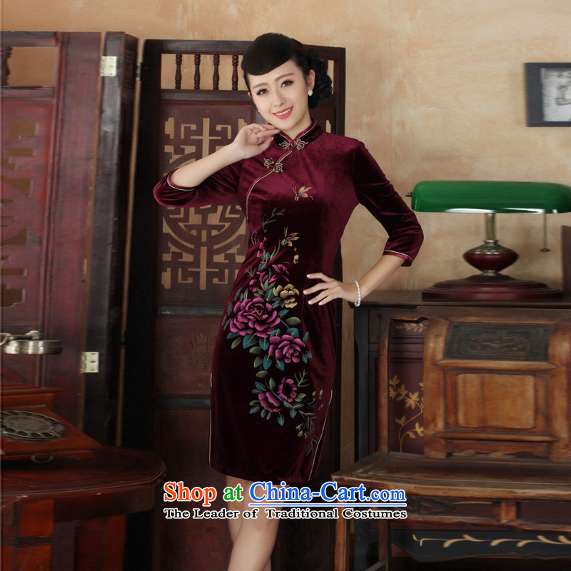 Mrs Ingrid Yeung economy for the new, Overgrown Tomb autumn qipao Tang dynasty women's Mock-neck Stretch Wool embroidery in Kim short-sleeved qipao?TD0026 M
