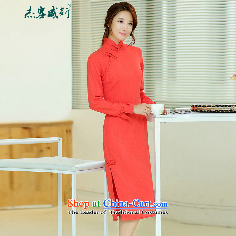 Jie in the spring and summer of female new cheongsam dress retro elegant long cotton linen collar manually upgrading of solid color tie cheongsam dress watermelon RED M