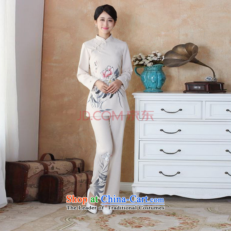 Min. Ms. Joseph older Tang dynasty cotton linen load spring and autumn kit collar hand-painted Tang blouses pants Kit?- 1 beige?M