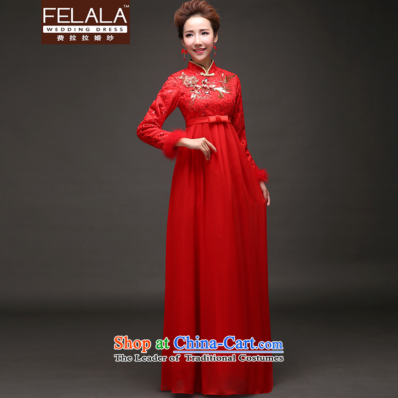 Ferrara聽2015 new winter clothing thick retro Chinese collar maternity dress cheongsam dress聽XL聽Suzhou Shipment