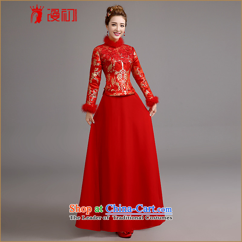 In the early?2015 new man cheongsam dress retro improved qipao Lace Embroidery Sau San bows cheongsam dress winter brides of thick?XL code
