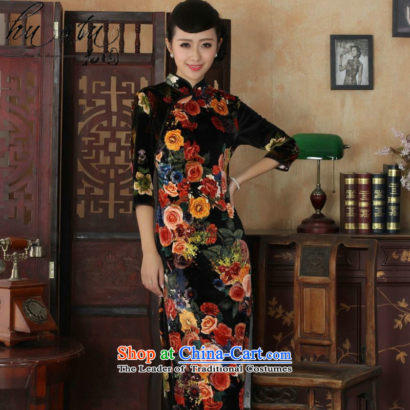 Floral qipao autumn replacing Tang Women's clothes new collar improved Stretch Wool poster stylish Kim in sleeve length cheongsam figure燤