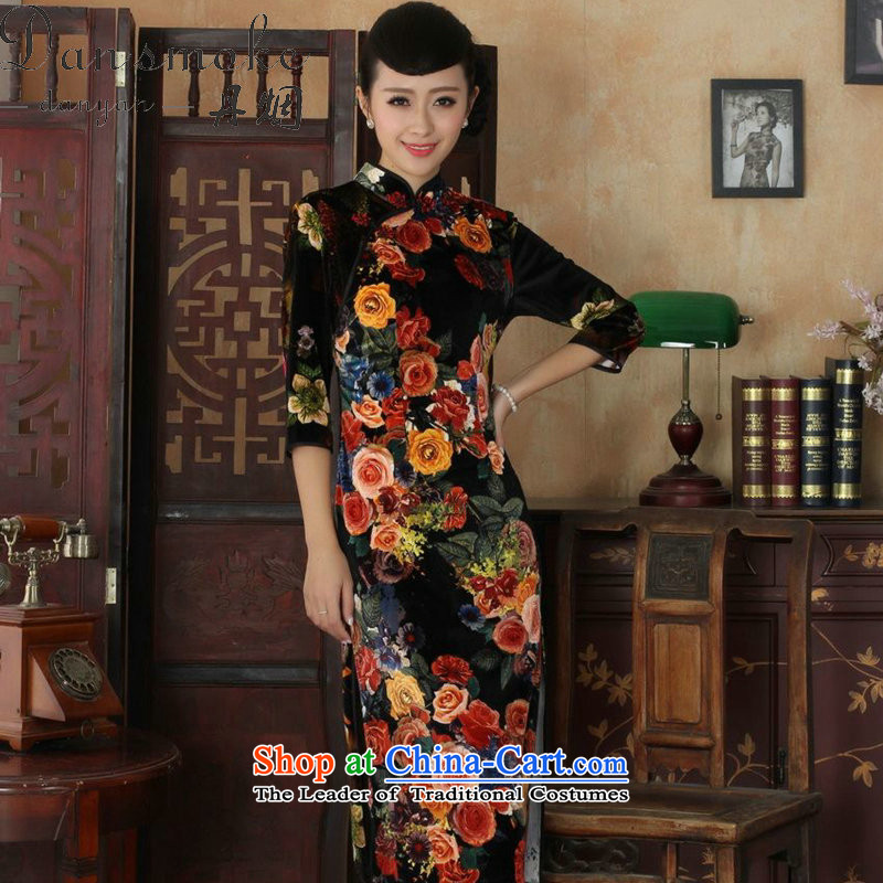 Dan smoke cheongsam dress Tang dynasty new, Choo Mock-neck improved Stretch Wool poster stylish Kim in Classic Sleeve length cheongsam figure XL