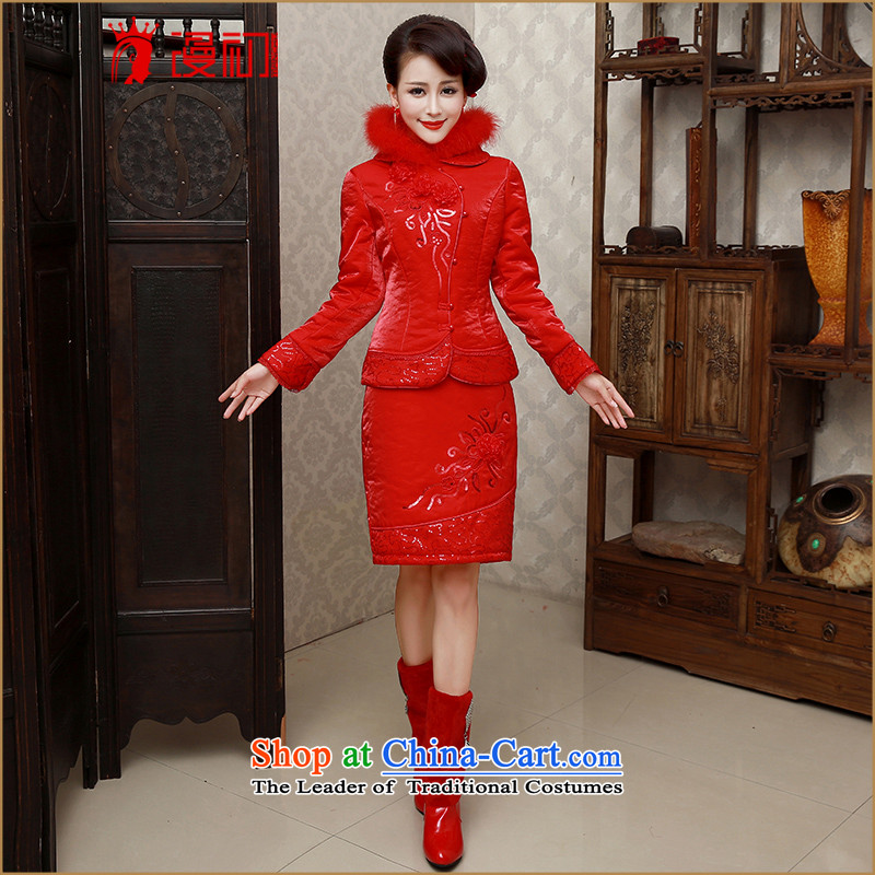 In the early�2015 new definition of autumn and winter red bride wedding dress winter Sau San Cluster Kit short qipao bows services qipao thick warm marriage flag red�M