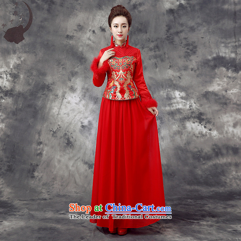 The leading edge of the days of the wedding dresses 2015 new marriages bows improved kit plus cotton qipao Fall_Winter Collections 867 red燲XXL 2.4 feet waist