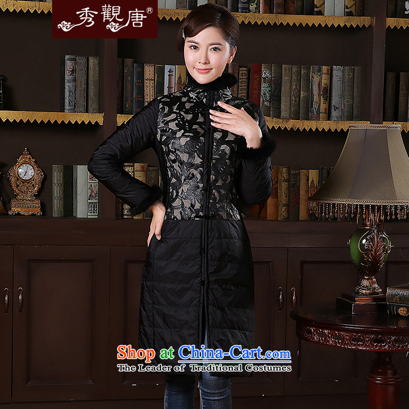 [Sau Kwun Tong] heard long winter coat?2014 winter clothing new gross for Tang Jacket coat TC41020 female black?XXL