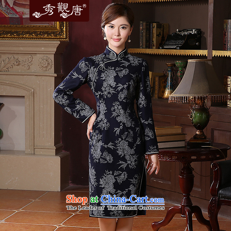 -Sau Kwun tong- the Syngman winter clothing long-sleeved qipao�14 new fleece long skirt QC41037 qipao retro燲XXL Dark Blue