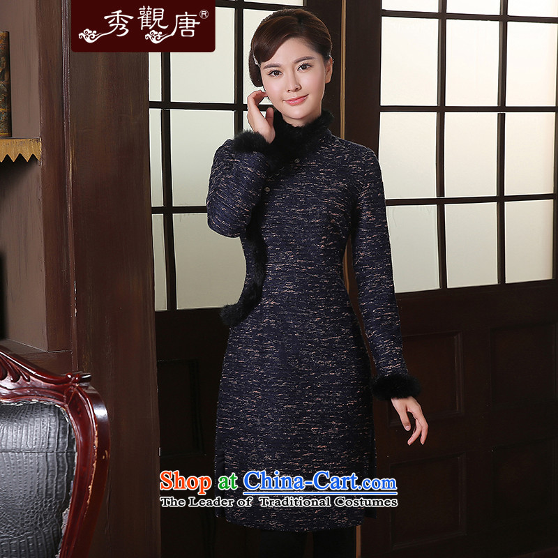 -Sau Kwun Tong- winter fun blended wool? long-sleeved qipao Fall_Winter Collections 2014 new gross for cheongsam dress QC41024 Blue M