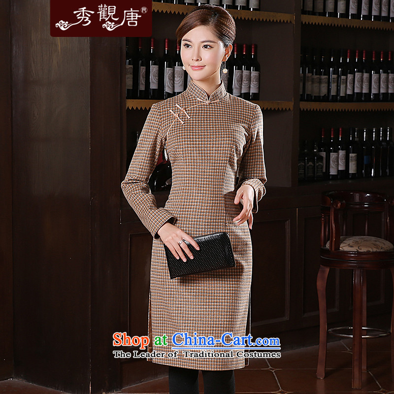 [Sau Kwun tong], Xiao 2014 winter clothing new republic of korea long-sleeved wool qipao latticed retro long QC41027 light coffee?M